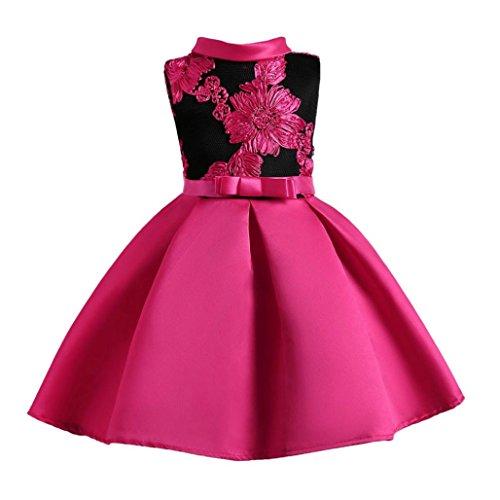 Mhomzawa 子供ドレス 花柄 女の子 フォーマルドレス ピアノ 発表会 こどもドレス キッズ ドレス 結婚式 演奏会 誕生会 パーティ (ホットピンク, 150)
