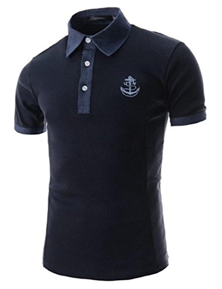 理容室被る持参(チェリーレッド) CherryRed 男性用 ファッション メンズ Tシャツ 半袖 錨 ポロシャツ ベーシック シンプル 無地 カジュアル ビジネス