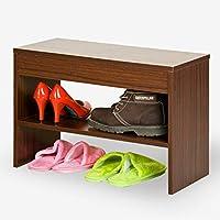 靴ラックファッションフリップシューズベンチ収納用ベンチシートホワイトメープルウッド(靴ラックのみ含む) (色 : Walnut color)