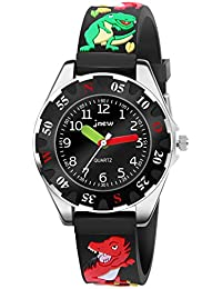 Hiwatch 腕時計 子供用 シリコン アナログ 恐竜柄 生活防水 ブラック
