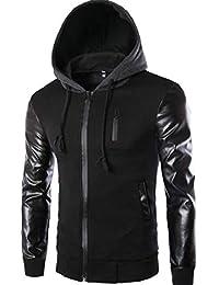 maweisong メンズフォークスレザースリーブフードスウェットシャツコートジャケットアウト