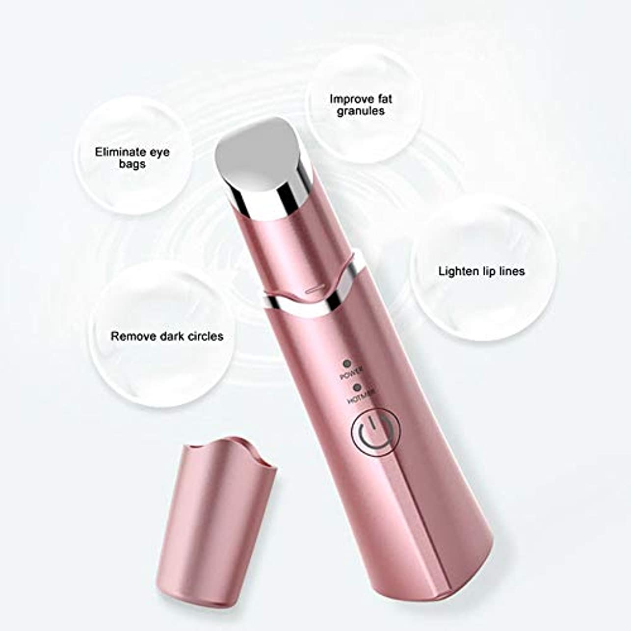 減少工場グリーンバック電動アイマッサージャー、電気加熱式ソニックバイブレーションマジック、ダークサークル用、パフネス用アイバッグ、フェイスマッサージ用アイケア,Pink