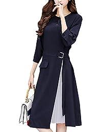 [ニーマンバイ] 七分袖 シフォン プリース 付き Aライン カラーフォーマル ドレス S~XXL