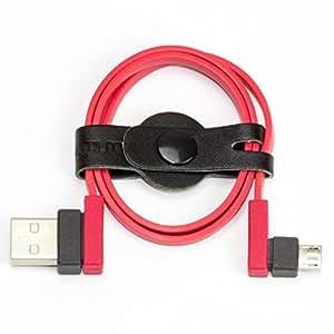 アーバンユーティリティ USB micro-Bケーブル L型 40cm(レッド)巻き取って纏めるケーブルバンド「オクトバンド」付き UCCB-ST40LB
