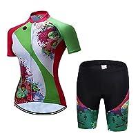 Genry 女性のアウトドアスポーツファッション印刷吸汗速乾半袖ジャージースーツ (Color : 02, Size : S)