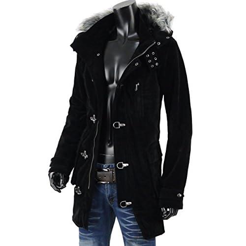 コート メンズ ミリタリー ロングコート ファイヤーマン コート ベロア ベルベット EX-O137006 ブラック L