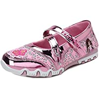 Naisidier Child Printed Mary Janes Sweet Patchwork Double Straps Ballet Flats with Mesh Upper Girls School Shoes for Dress