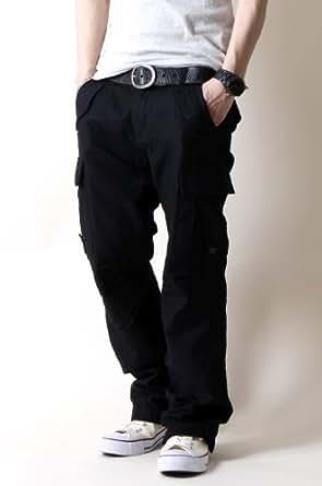 ミリタリー ベーシック カーゴパンツ メンズ Sサイズ ブラック