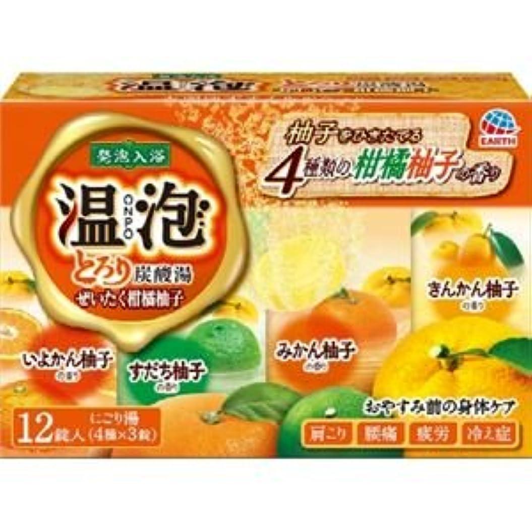 神社ファイババン(まとめ)アース製薬 温泡とろり炭酸湯ぜいたく柑橘柚子12錠入 【×3点セット】