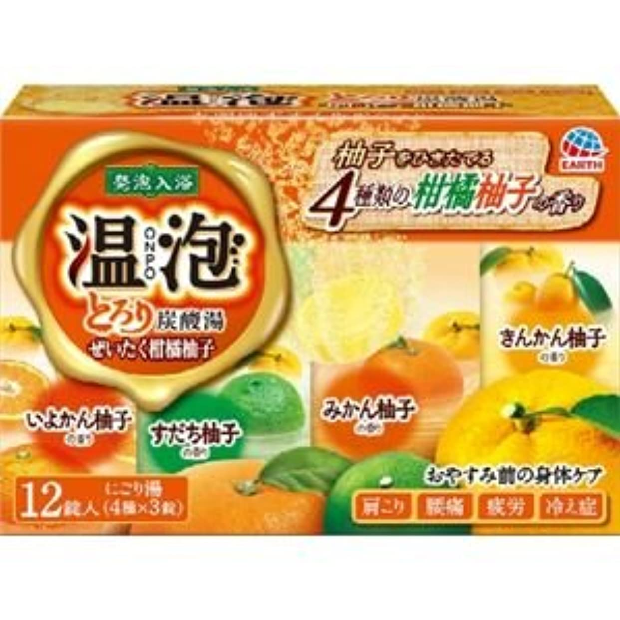 勇敢なラベンダーバズ(まとめ)アース製薬 温泡とろり炭酸湯ぜいたく柑橘柚子12錠入 【×3点セット】