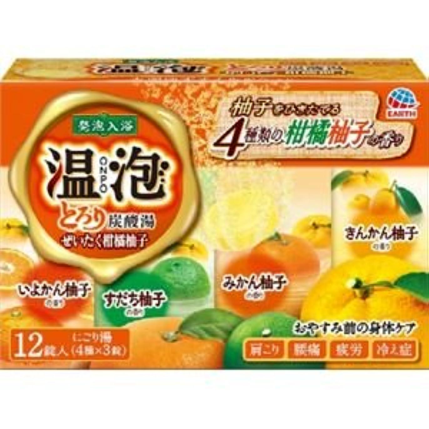 拍手するそれに応じて未接続(まとめ)アース製薬 温泡とろり炭酸湯ぜいたく柑橘柚子12錠入 【×3点セット】
