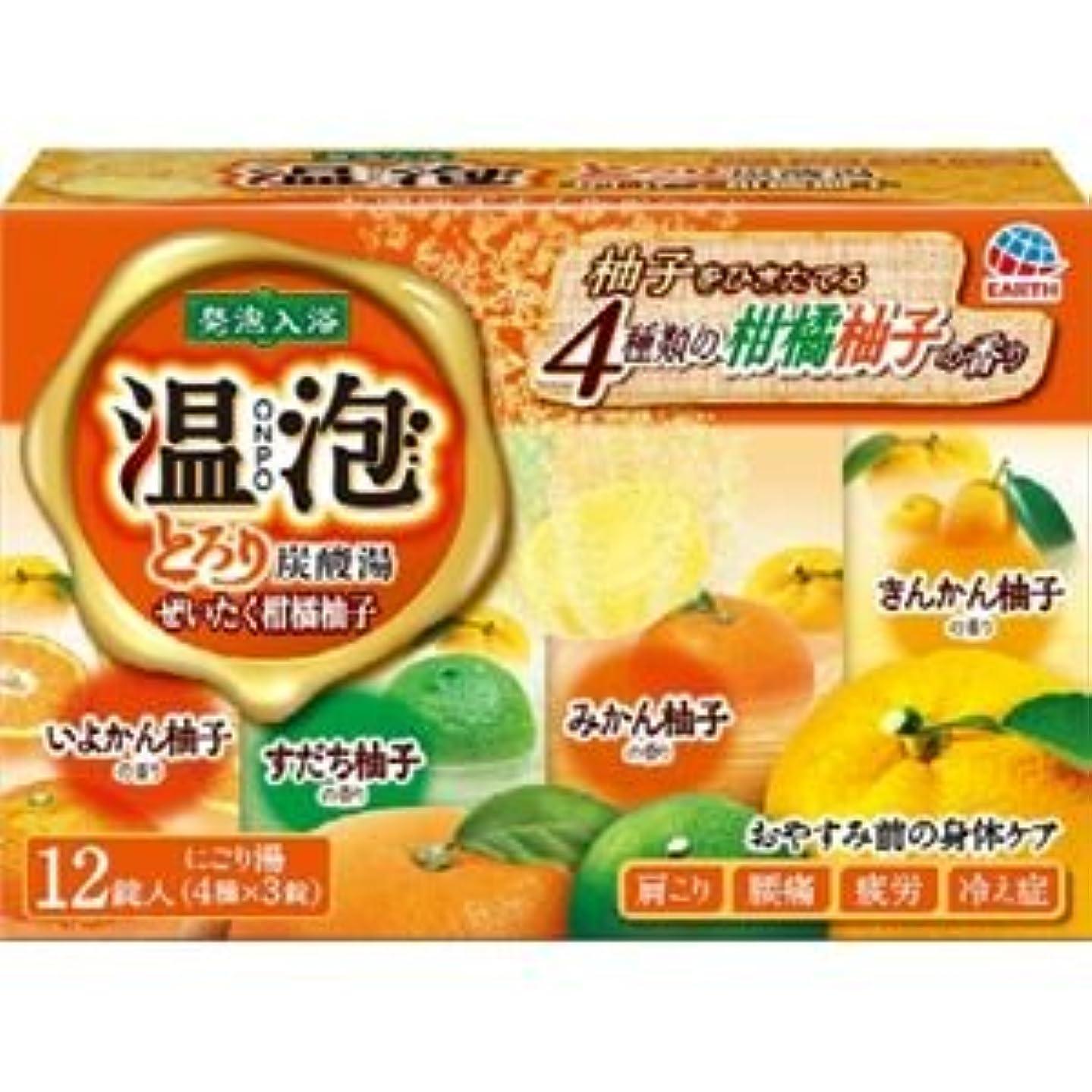 雨レクリエーション納税者(まとめ)アース製薬 温泡とろり炭酸湯ぜいたく柑橘柚子12錠入 【×3点セット】