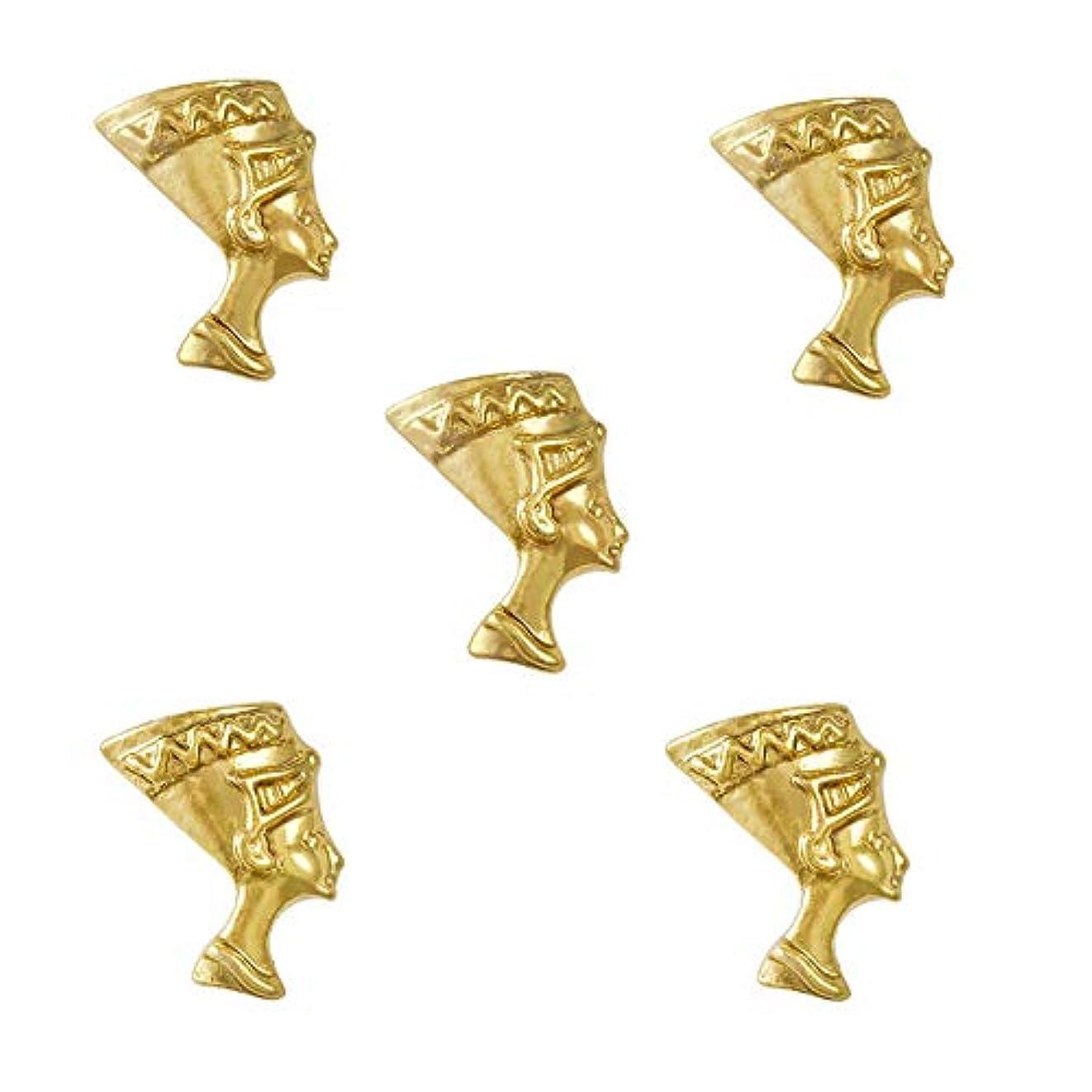 欲求不満地理禁輸10個入り/パックエジプトの女王ネフェルティティエジプトのテーマ3Dゴールドスライスネイルアートの装飾マニキュアショップ用品