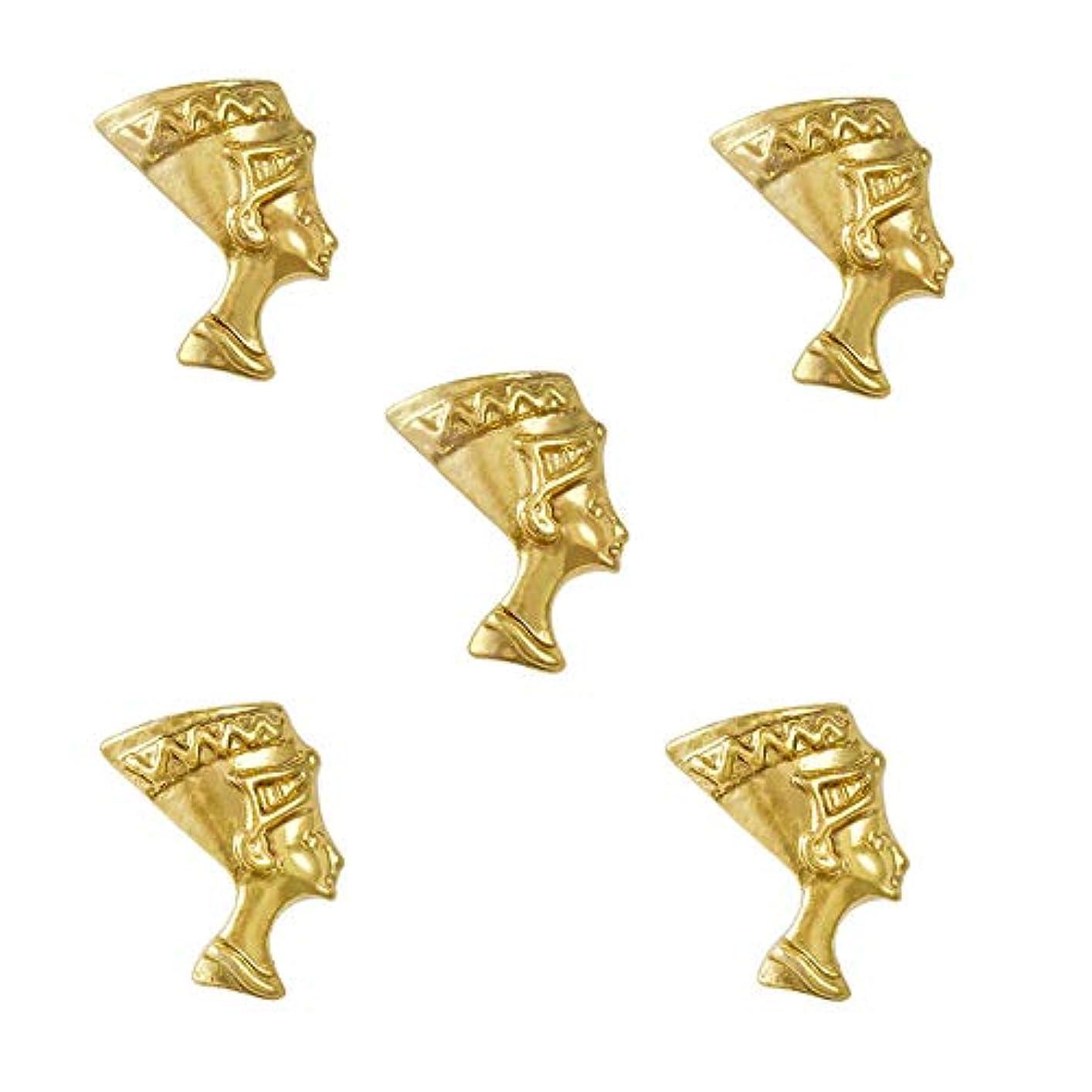 忠実なむき出し10個入り/パックエジプトの女王ネフェルティティエジプトのテーマ3Dゴールドスライスネイルアートの装飾マニキュアショップ用品