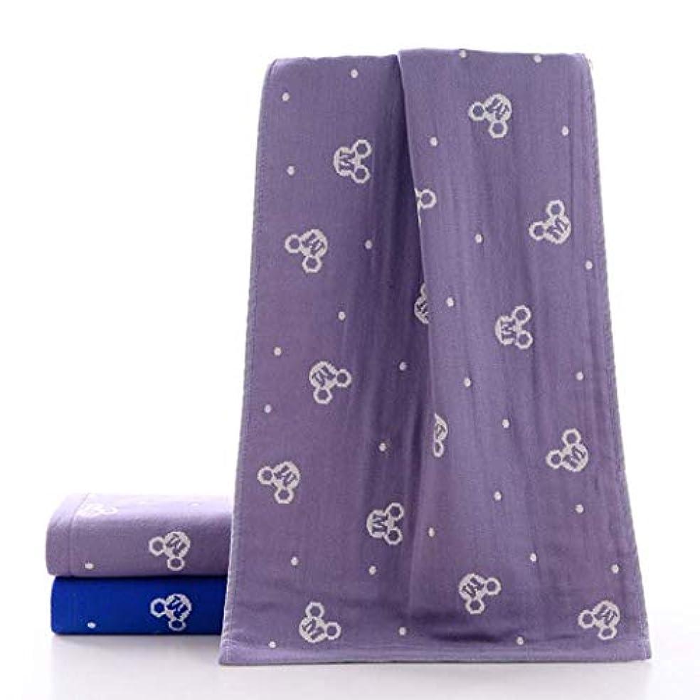 ホラーコントラスト粘性の高級コットンバスタオルタオルドライタオルソフト快適,Purple,34*75cm