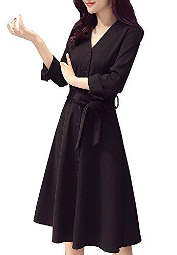 [해외](모란 팝) PEONYPOP 정장 결혼식 제사 예쁘게 검은 리본 V 넥 원피스 드레스 여성/(Peony pop) PEONYPOP formal wedding ceremony legal cleanliness black ribbon V neck one piece dress ladies