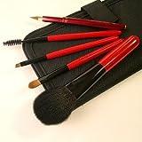竹田ブラシ製作所 赤椿化粧筆(赤塗木軸)5本セット 簡易ケース付