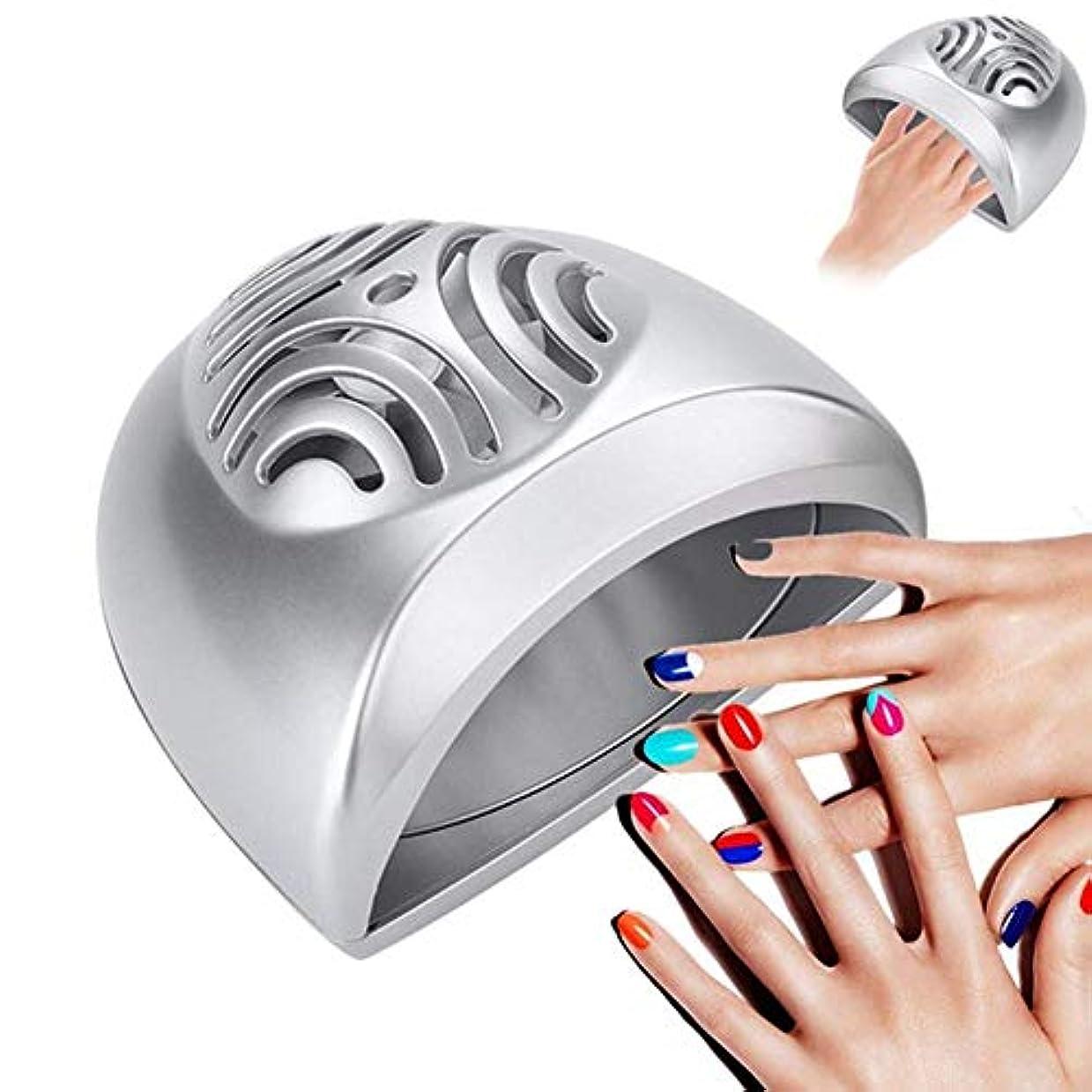 欺和解する正気ポータブルミニネイルドライヤーファンネイルアート乾燥ツール指の爪マニキュアエアドライヤー送風ファンマニキュアペディキュアツール、シルバー