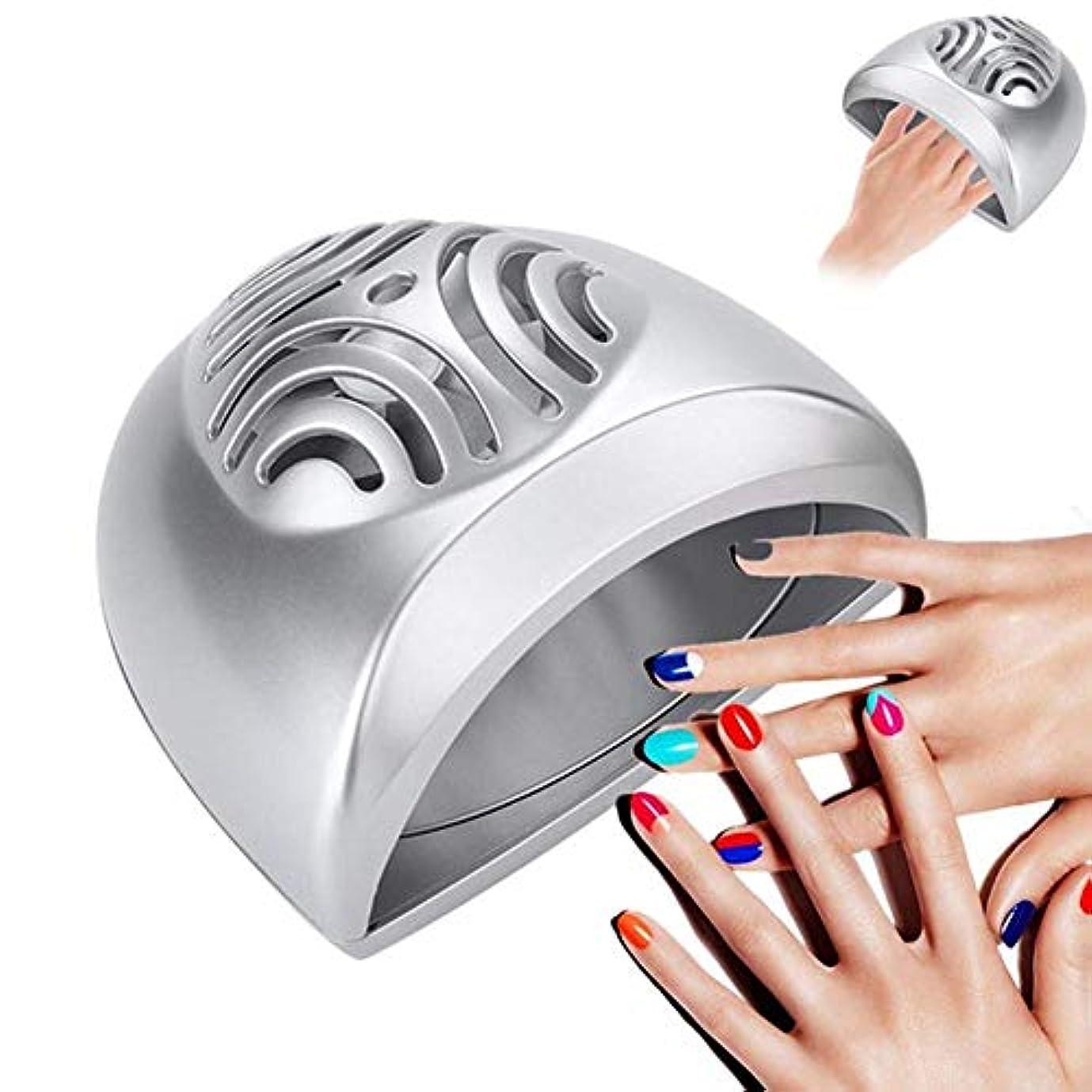 落胆するタイプライター電気的ポータブルミニネイルドライヤーファンネイルアート乾燥ツール指の爪マニキュアエアドライヤー送風ファンマニキュアペディキュアツール、シルバー