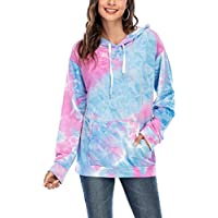 Women's Tie Dye Hoodies Lightweight Sweatshirt Long Sleeve Hooded Casual Drawstring Pullover Tops with Pocket