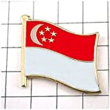 ピンバッジ シンガポール国旗デラックス薄型キャッチ付き三日月星 ピンズ SINGAPORE FLAG ピンバッチ