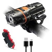 自転車ライト、スーパー明るい自転車フロントライト1200ルーメン、IPX6防水6モードサイクリングライト懐中電灯トーチUSB充電式テールライト(USBケーブル付属)