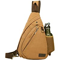 ANBENEED Canvas Travel Casual Sling Bag Triangle Crossbody Chest Backpack Daypack for Men & Women with USB Charger