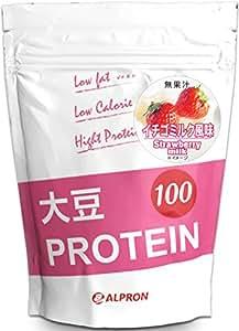 アルプロン 大豆プロテイン100 1kg【約50食】イチゴミルク風味(ソイプロテイン ALPRON 国内生産)