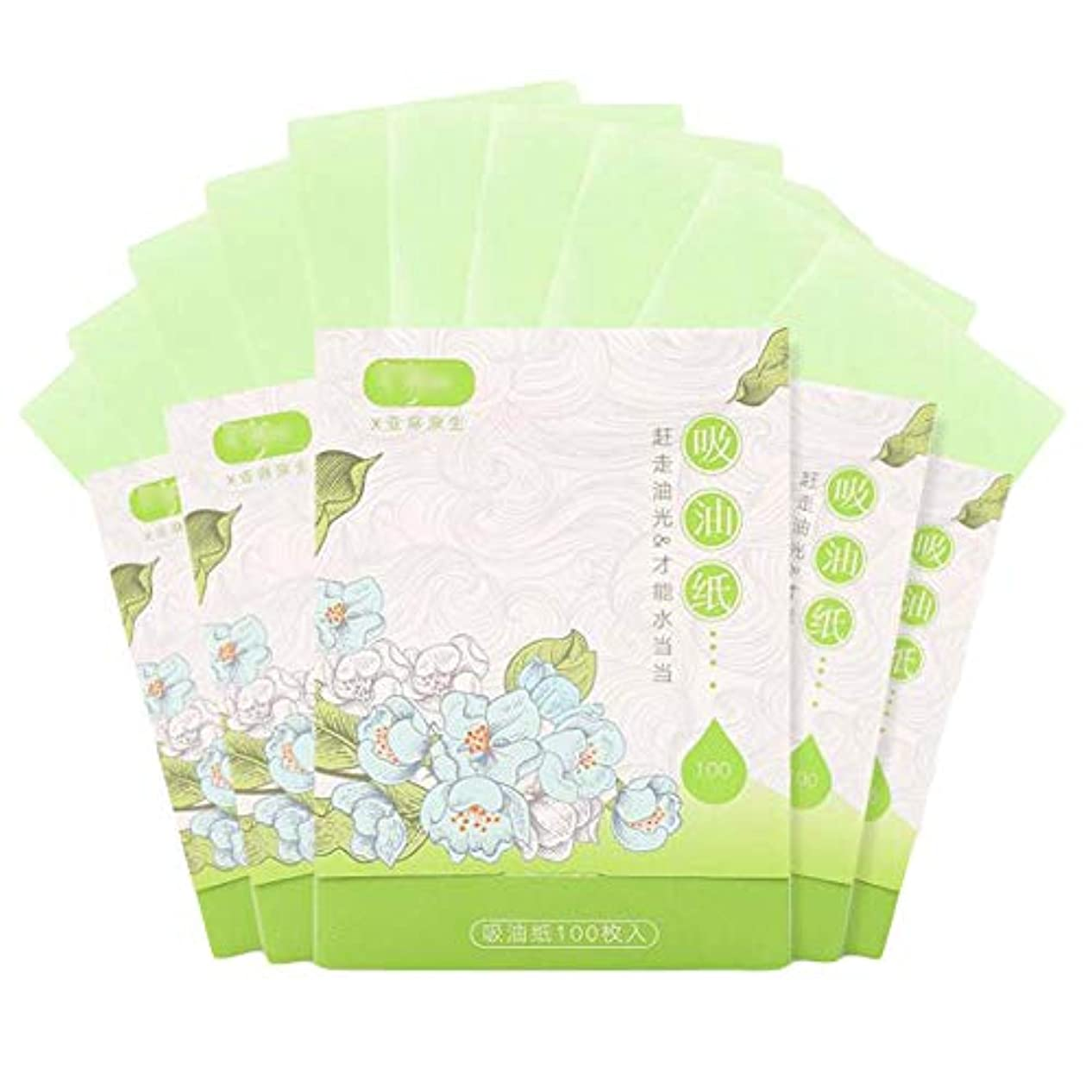 アウトドアアウトドア鬼ごっこ人および女性のための携帯用顔オイルブロッティング紙、緑500枚のシート