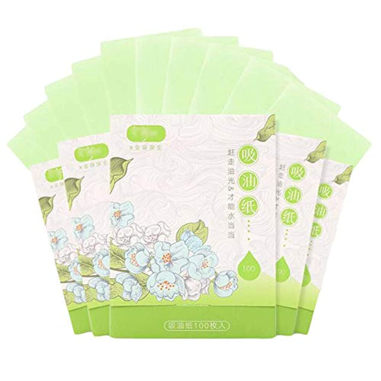 側溝大陸コピー人および女性のための携帯用顔オイルブロッティング紙、緑500枚のシート