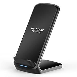 NANAMI Qi 急速 ワイヤレス充電器 スタンド型 高さ増加バージョン 2つコイル 置くだけ充電 iPhone X /iPhone 8 /iPhone 8 Plus /Galaxy S9 /S9 Plus /Note8 / S8/S8 Plus /他Android Qi対応機種 無線充電 qi 充電器