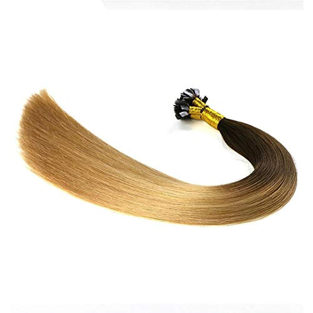 だますオフ禁止するWASAIO ヘアエクステンションクリップのシームレスな髪型ナノリングオンブルトップ金ぴかブラウンボトムハイライトブロンドダブル描かれた人間の髪 (色 : Blonde, サイズ : 24 inch)