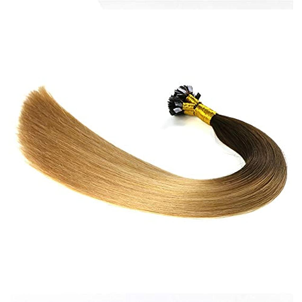 トラクター脆い引き渡すWASAIO ヘアエクステンションクリップのシームレスな髪型ナノリングオンブルトップ金ぴかブラウンボトムハイライトブロンドダブル描かれた人間の髪 (色 : Blonde, サイズ : 24 inch)