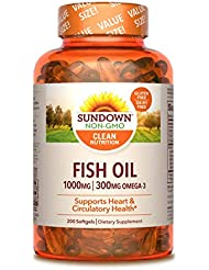 海外直送品Sundown Naturals Fish Oil, 1000 mg, 200 caps by Sundown Naturals