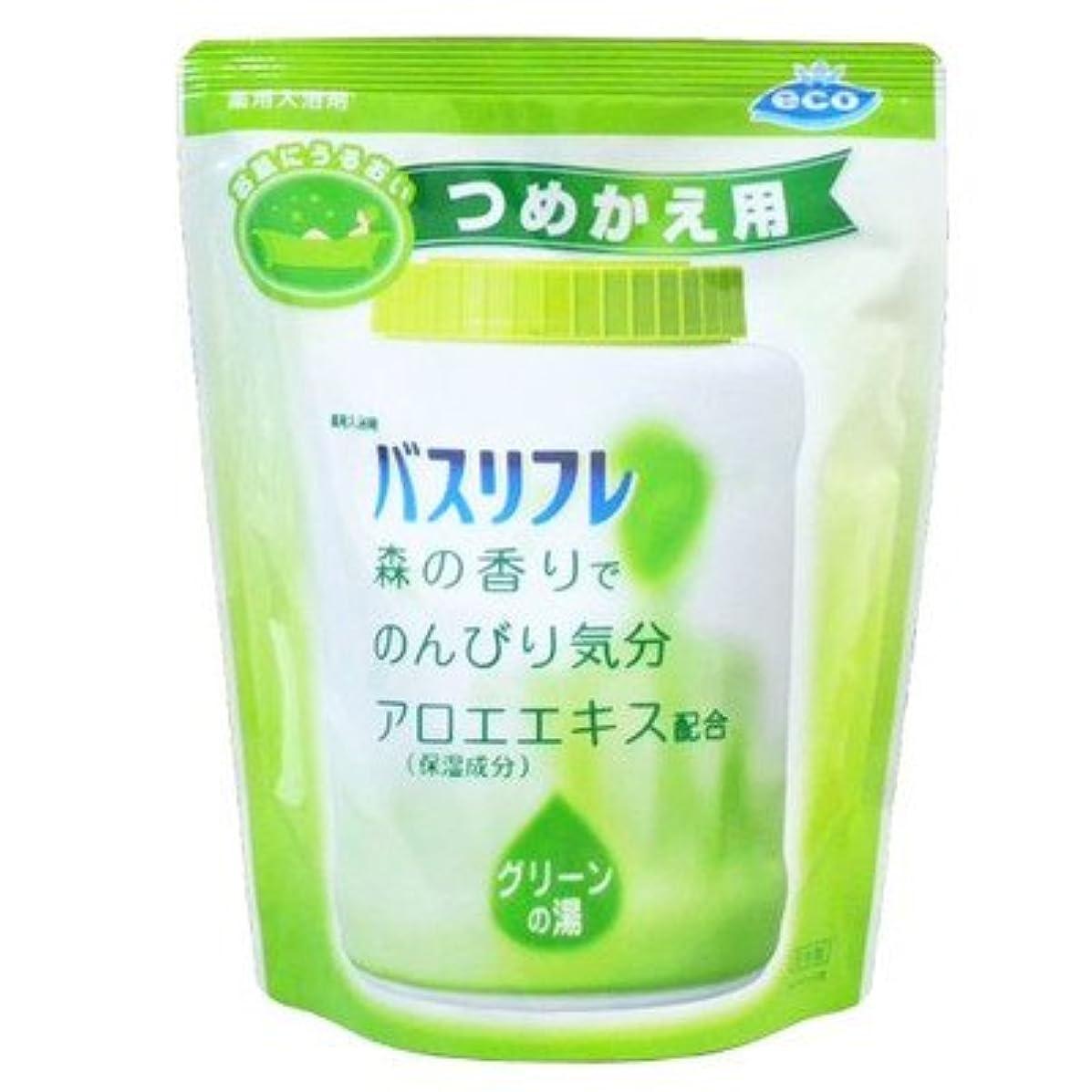 露遠え低い薬用入浴剤 バスリフレ グリーンの湯 つめかえ用 540g 森の香り (ライオンケミカル)