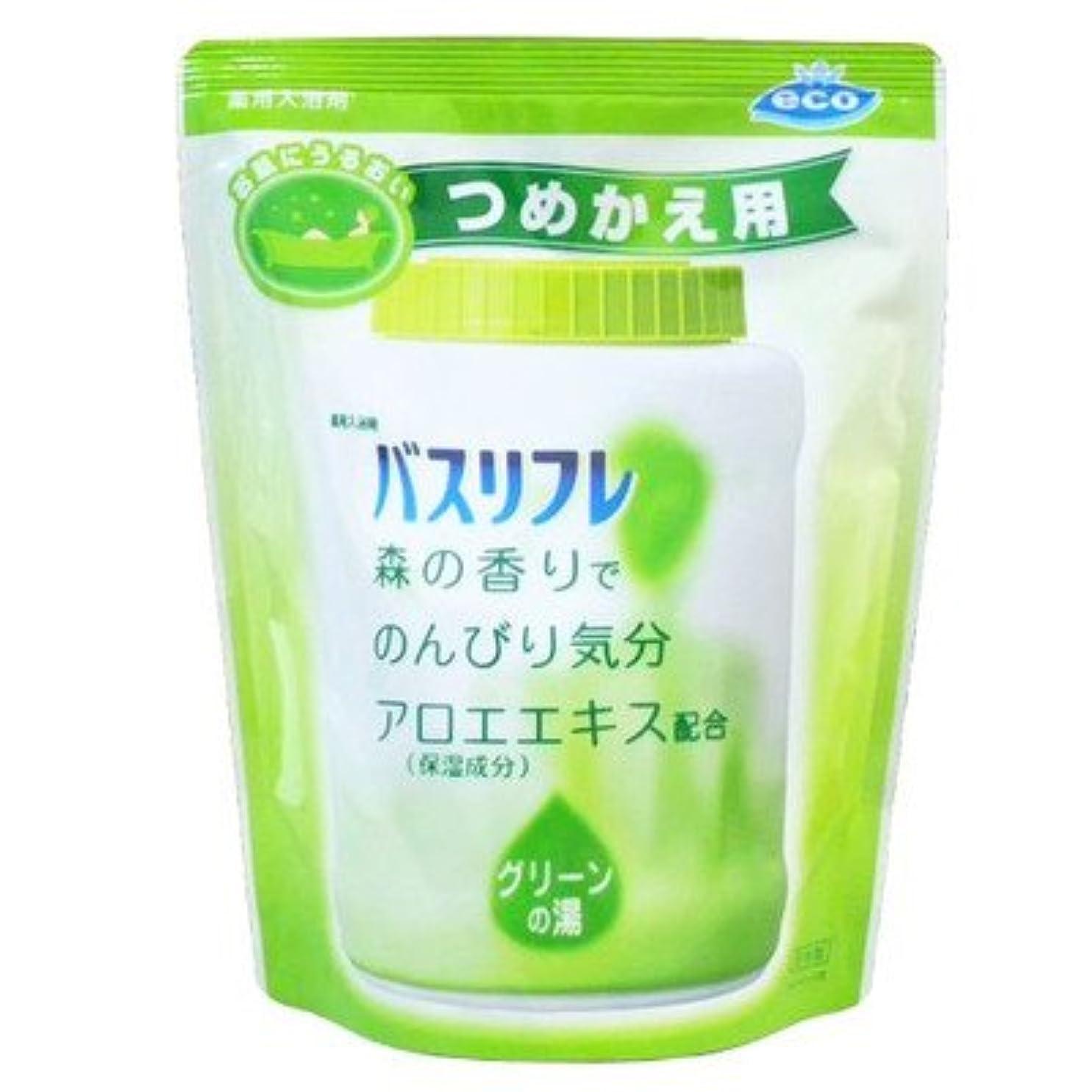 家事特徴寛大さ薬用入浴剤 バスリフレ グリーンの湯 つめかえ用 540g 森の香り (ライオンケミカル)