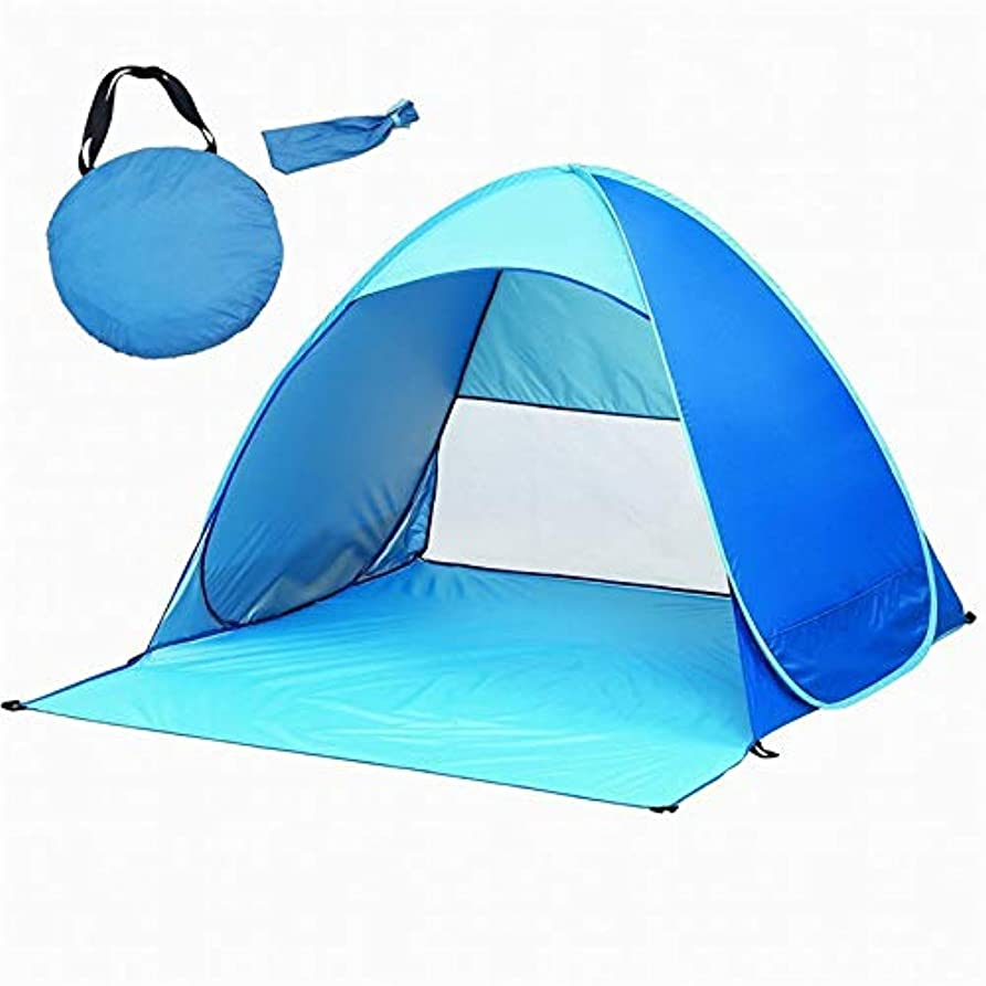 レール構想するイルビーチテントポータブル用2人自動インスタントビーチテント防水抗紫外線シェードキャンプテント用ビーチ