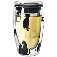 QD-SGMP グラス 猫柄 ガラスカップ ティーカッ プフィルター付き ガラス蓋 耐熱ガラス ミルク コーヒーカップ