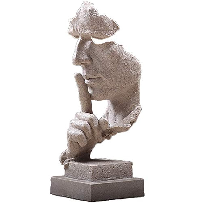 拍手レパートリー十分な樹脂抽象彫刻沈黙はゴールデン男性像キャラクター工芸品装飾用オフィスリビングルームアートワーク,White