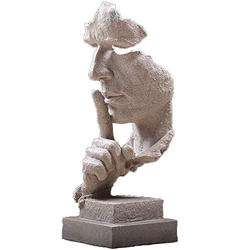 突然のほんの無条件樹脂抽象彫刻沈黙はゴールデン男性像キャラクター工芸品装飾用オフィスリビングルームアートワーク,White