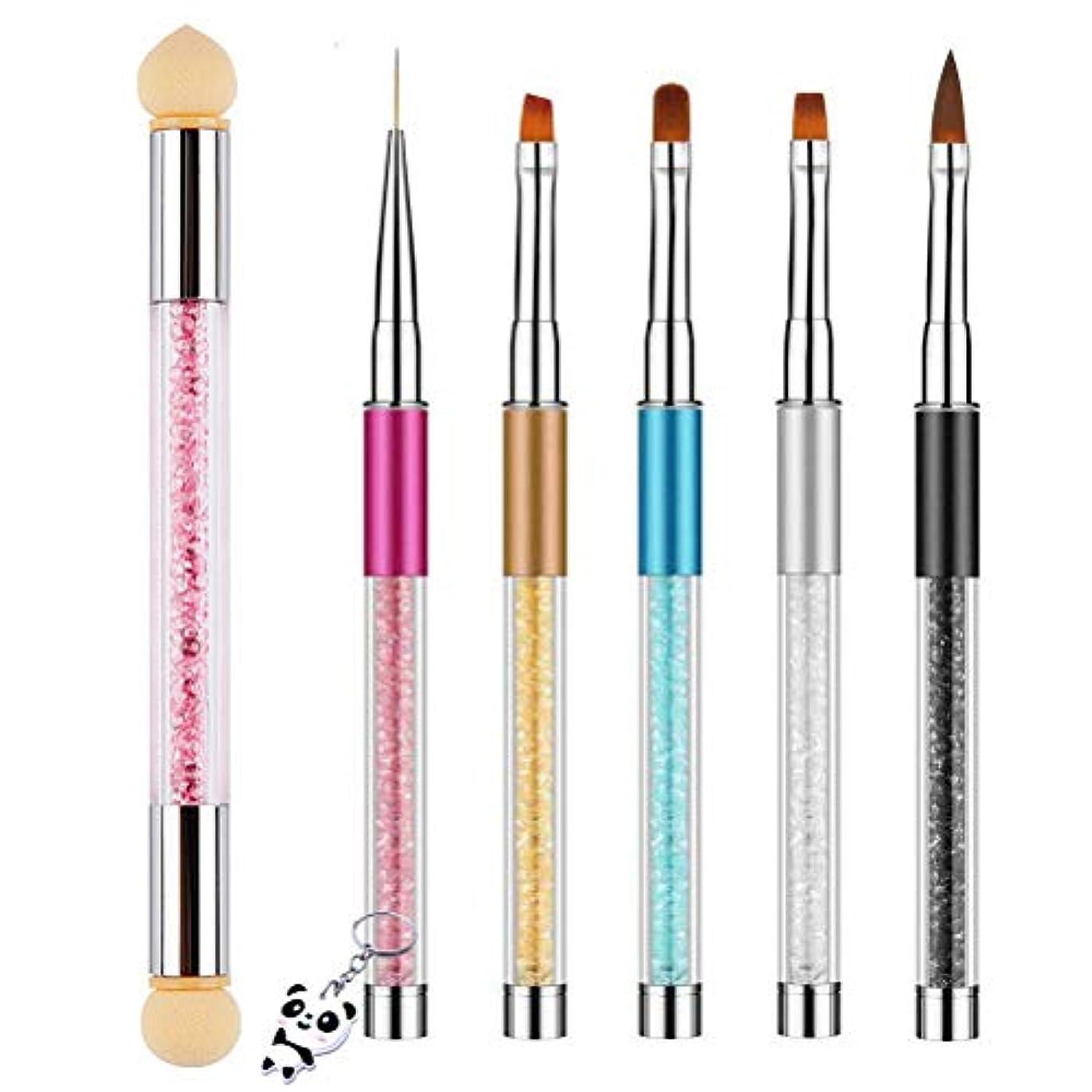 光沢成長脚Achy JP ネイルアートブラシ 6個セット ネールアートペン マニキュアツールキット UV用 ネイルツール ネイル用品