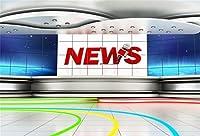 Leyiyi 6x4フィート ニュース放送ホール バックドロップ マイク テレビ番組 レコードレセテーション デスク プログラム フロントテーブル広告 紙幣ボード 写真背景 ビジネス 勉強 ポートレート スタジオ 小道具 ビニール壁紙