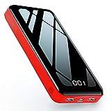モバイルバッテリー 26800mAh 大容量 モバイル バッテリー 急速充電 LCD残量表示 type-c Micro 2つ入力ポート2USBポート PSE認証済 iPhone & Android 各種対応 (黒と赤)