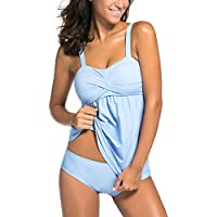 EVALESS Women's Solid Ruched Bandeau Two Piece Tankini Top Swimsuit with Triangle Briefs Plus Size