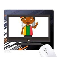 ブラック・ワイルドジャマイカ漫画 ノンスリップラバーマウスパッドはコンピュータゲームのオフィス