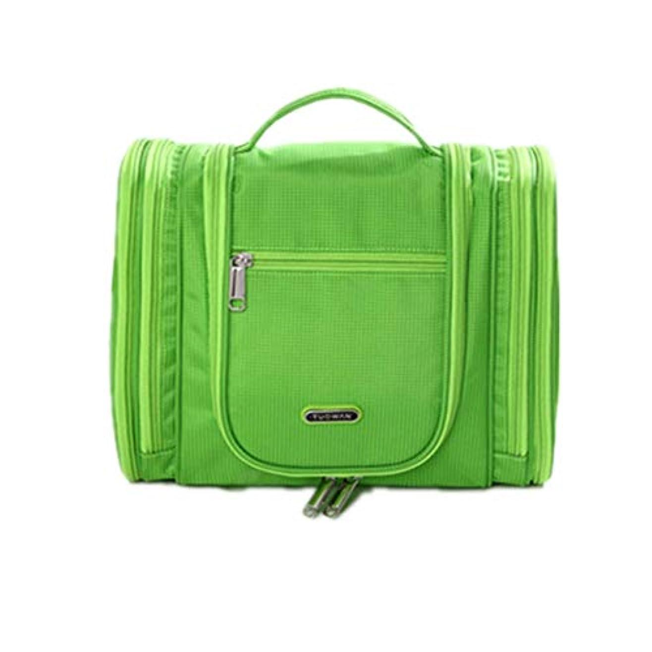 化粧オーガナイザーバッグ グリーンカジュアル旅行用アクセサリーのためのポータブル化粧品バッグシャンプーボディウォッシュパーソナルアイテム吊りフックとジッパーでのストレージ 化粧品ケース