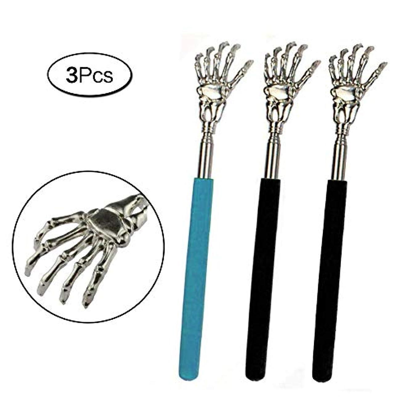 ドット部分的に柔らかさ孫の手 伸びる 高人気鬼爪 ステンレス製 携帯 まごの手 背中掻きブラシ 伸縮自在 3枚入り
