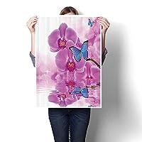 ウォールアートペイント 花柄 シックな花柄 キャンバスにブラックプリント 風景画像 自宅用油絵 (フレームなし) 12 x 20inch(30x50cm)/1pc