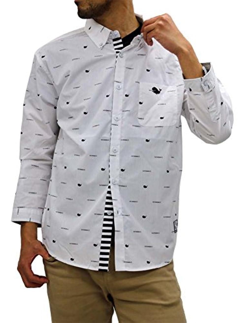 ファンネルウェブスパイダー軽減する水銀の[ファットアニマルズ] 大きいサイズ メンズ シャツ 7分袖 くじら