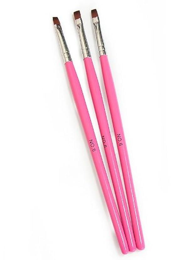 お風呂ゆるく先にジェルネイル用ブラシ 筆 No.6【3本セット】ピンクカラー